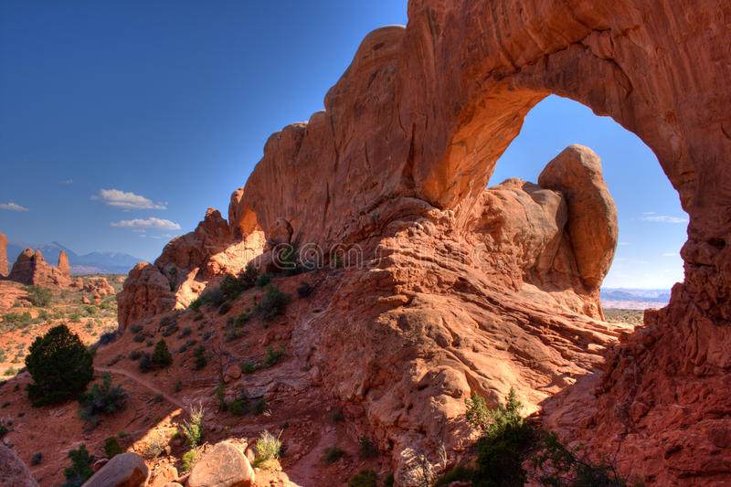 North window arch in Arches park royalty free stock photo