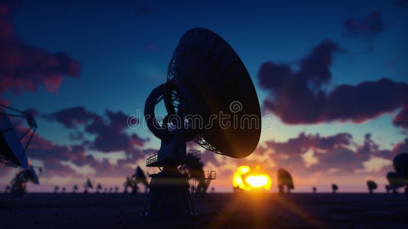 Large Array Radio Telescope. Time-lapse of a radio telescope in desert at sunrise against the blue sky. 3D Rendering stock illustration