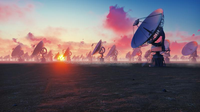 Large Array Radio Telescope. Time-lapse of a radio telescope in desert at sunset. 3D Rendering stock photo
