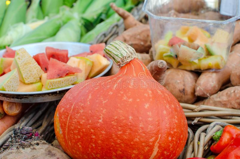 Large assortment of seasonal fruits and vegetables sold at farme royalty free stock photos