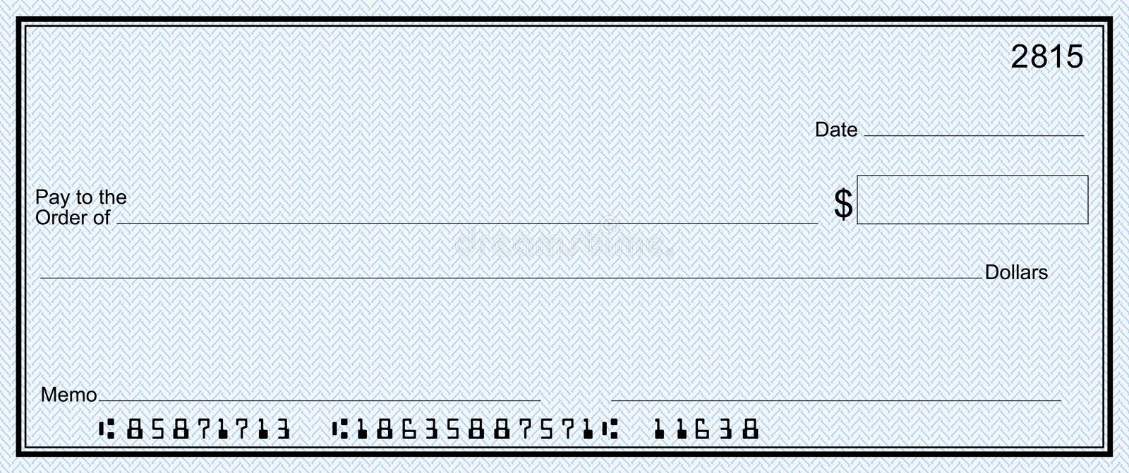 Large bank check with false numbers royalty free illustration