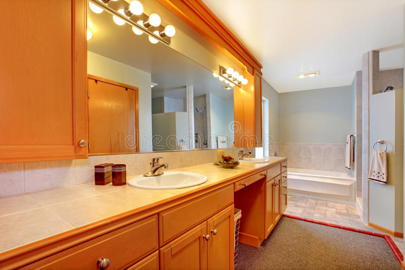 Large bathroom with double sinks. royalty free stock photography