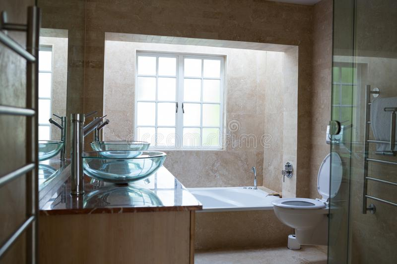 Large bathroom in luxury home stock image