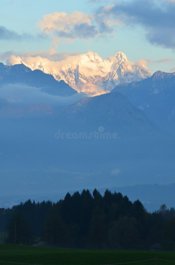 Far view of the beautiful Dolomite mountains stock photos