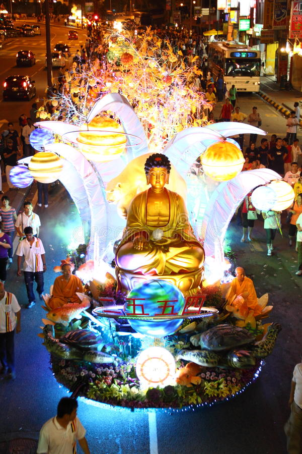 A Large Beautiful Floats At Wesak Day Procession Editorial ...