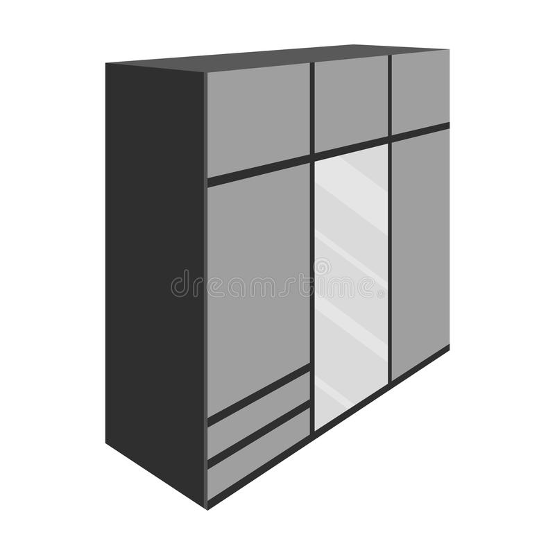A large bedroom wardrobe with mirrow and lots of drawers and cells.Bedroom furniture single icon in monochrome style. Vector symbol stock web illustration vector illustration