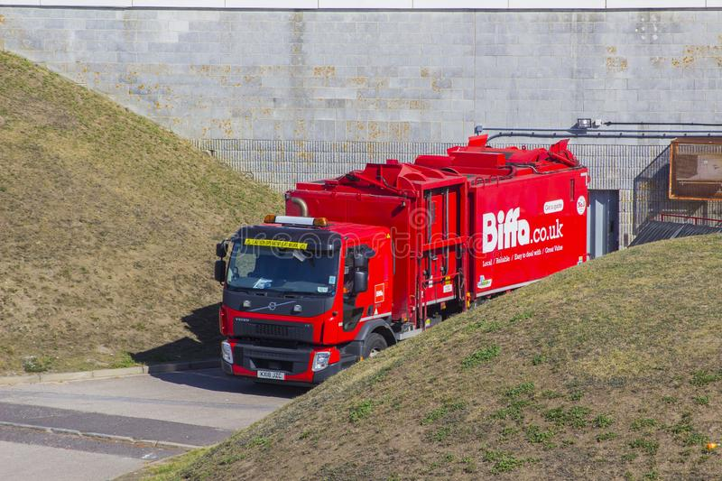 A large Biffa Waste Disposal lorry at the Pyramids Centre facility in Portsmouth England royalty free stock photography