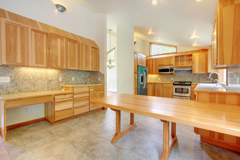 Large birch custom home kitchen interior stock photos