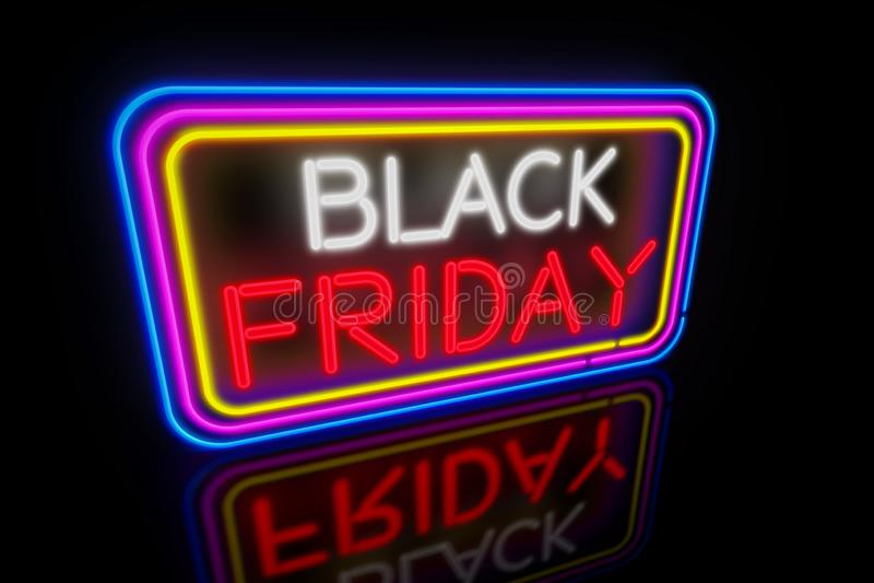 Black Friday neon. Large Black Friday light neon. Advertising banner 3D illustration royalty free illustration