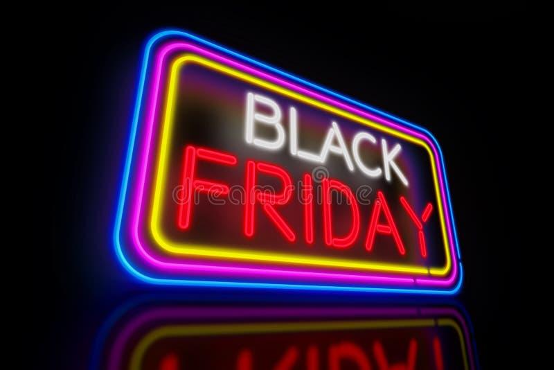 Black Friday neon. Large Black Friday light neon. Advertising banner 3D illustration stock illustration