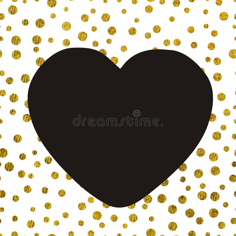 A large black heart on the background of small gold dots vector illustration