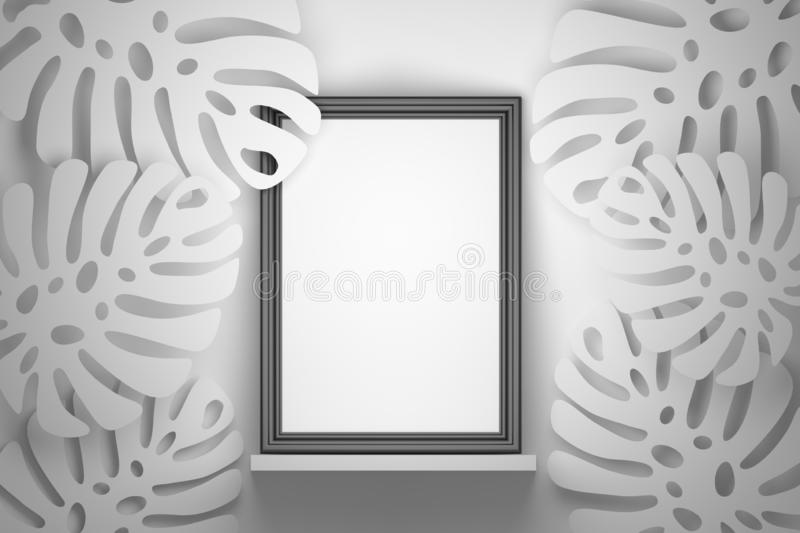 Large black picture frame with Monstera plant leaves royalty free illustration