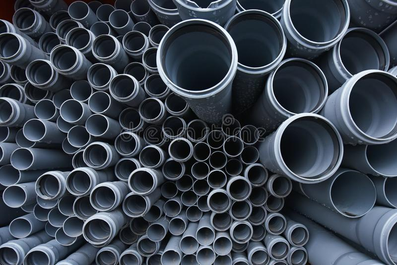 Large Black Plastic Pipes For Water Supply Stock Image