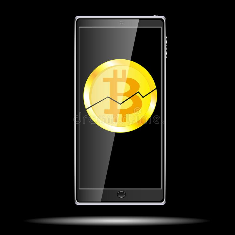 A large black realistic mobile smart touch sensitive thin mobile phone with a broken coin bitcoin, a crypto currency cracked on th royalty free illustration