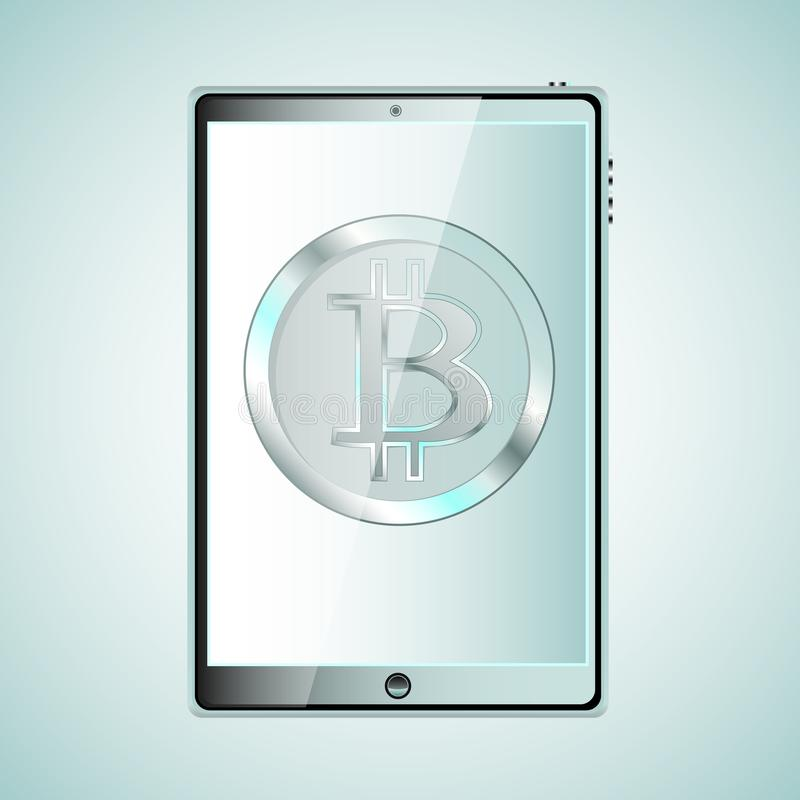 A large black realistic mobile smart touch sensitive thin tablet computer with a silvery bitcoat, crypto currency on the display i royalty free illustration