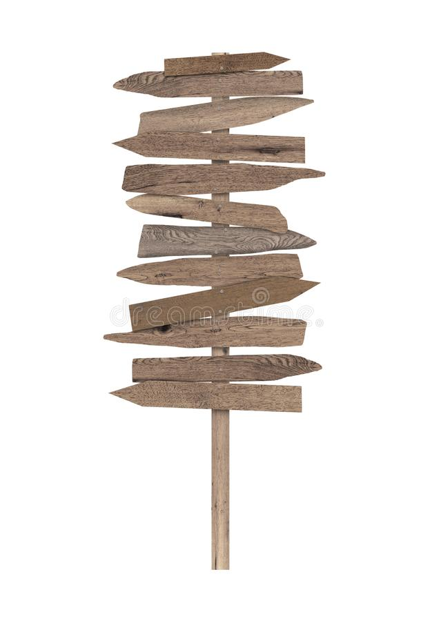 Large blank wooden directional beach sign on pole royalty free stock photography