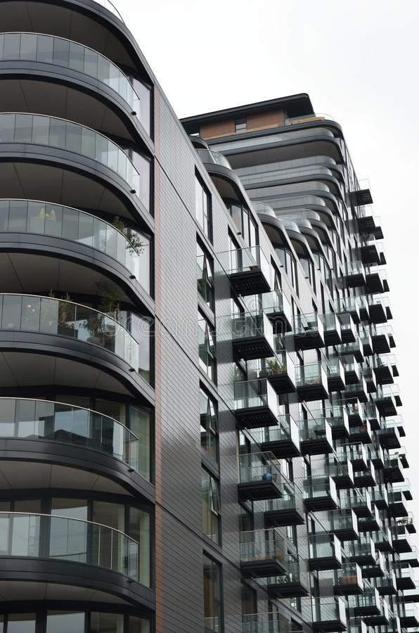 Large block of residential flats. In curved pattern royalty free stock photos