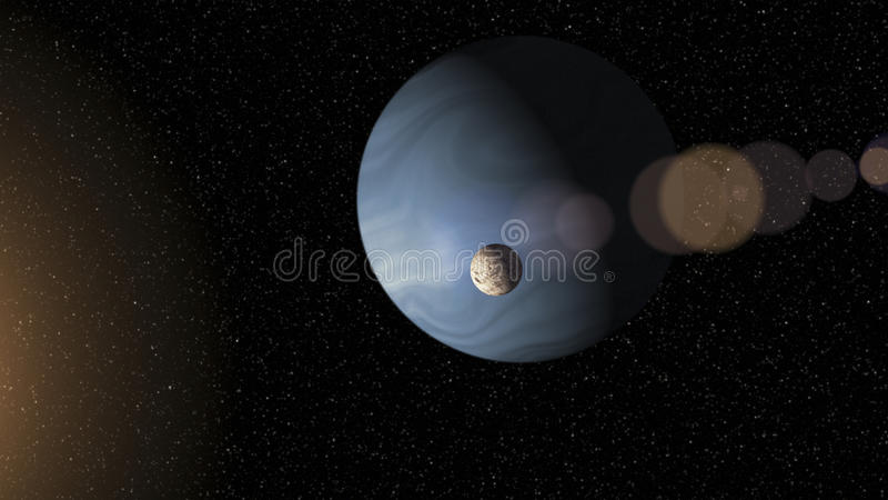 Large blue gas giant planet and a moon orbiting close to a red star stock illustration