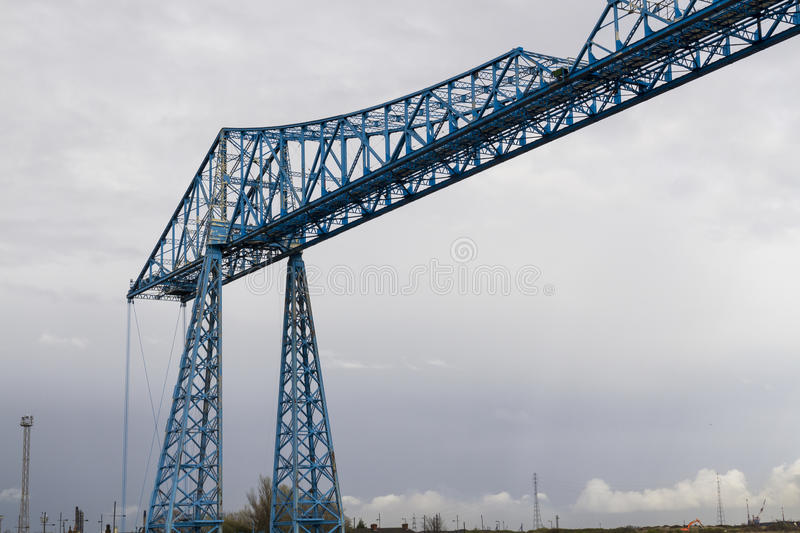 Large blue girders, Tees Transporter Bridge, Middlesbrough, England, United Kingdom, Europe. Longest remaining transporter bridge in the world. Opened in 1911 stock images