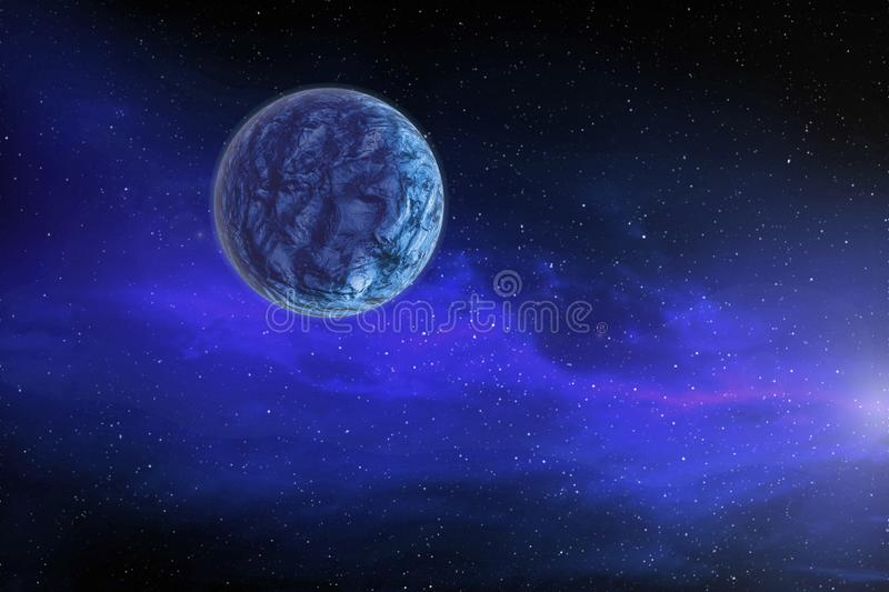 Large blue planet moves around a bright star in far-away space, vector illustration