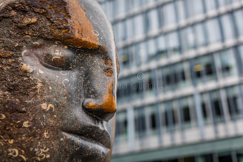 Large blue Purbeck head Bowman statue. Sculpture by Emily Young in Tate Modern's extension, Bankside, London stock image
