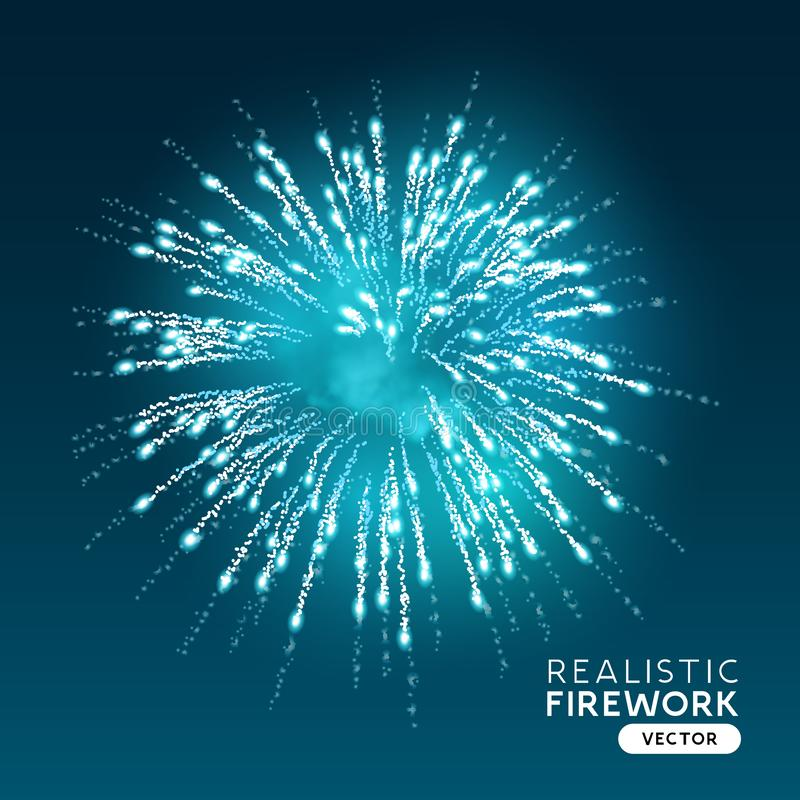 Large Blue Realistic Firework Vector stock illustration