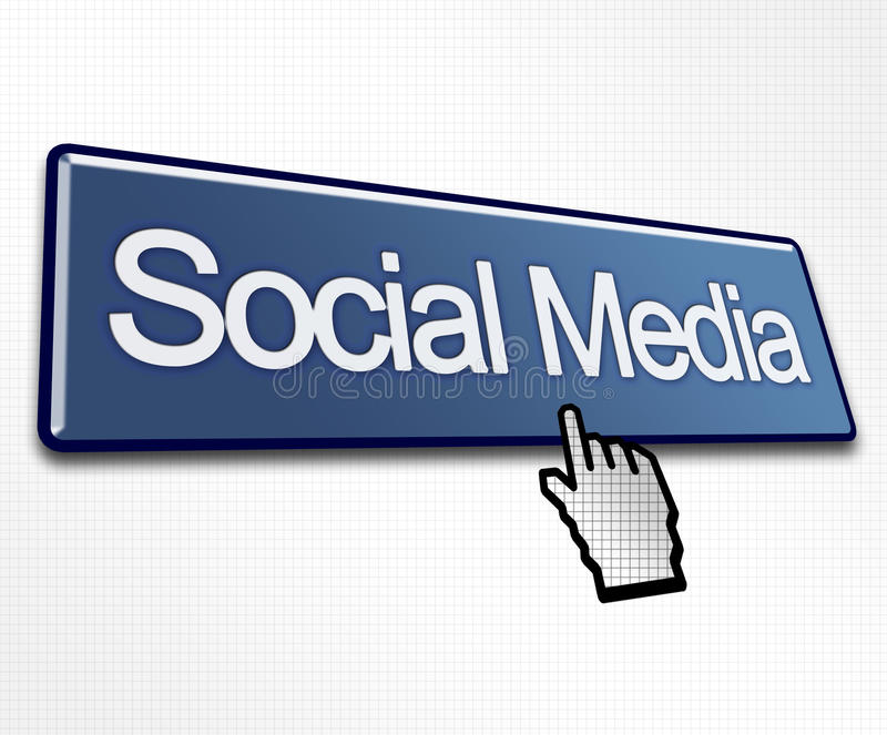 Large Blue Social Media Button. With Hand Cursor Click royalty free illustration