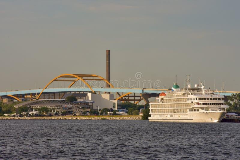 Large Boat On Lake Michigan royalty free stock photography