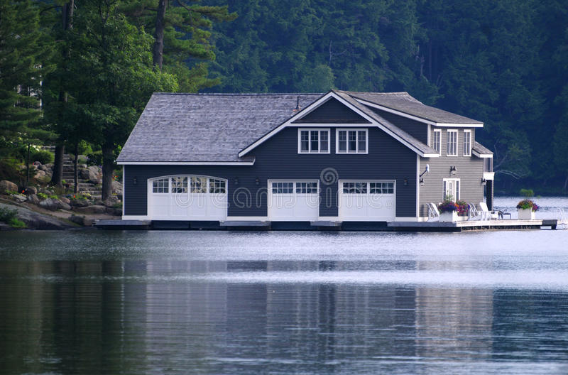 Large boathouse royalty free stock image