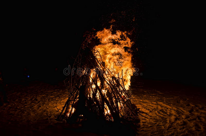 Large Bonfire With Shooting Flames and Sparks royalty free stock images