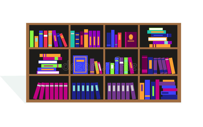 Large Bookcase with Different Books stock illustration