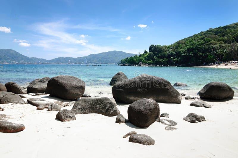 Large boulders on the Andaman sea beach, Phuket. Large boulders on the Andaman sea beach, Phuket, Thailand royalty free stock photos