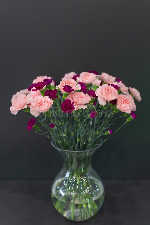 A large bouquet of red and pink carnations in a transparent glass vase stock photo