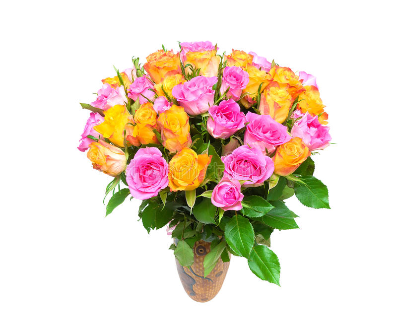 A Large Bouquet Of Roses Isolated On White Background. Royalty Free Stock Photo