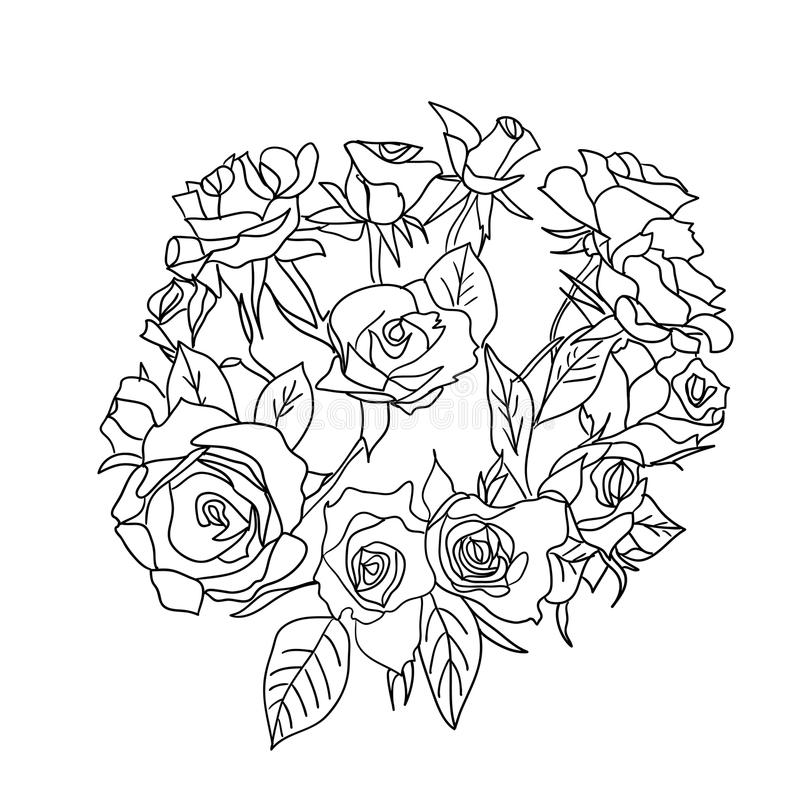 Large bouquet of roses. vector vector illustration