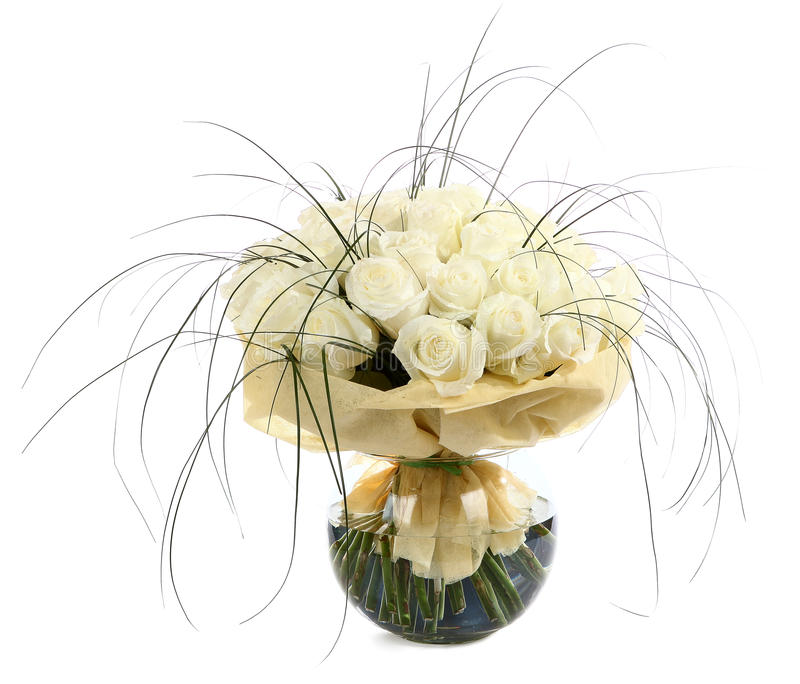 A Large Bouquet Of White Roses. A Huge Bouquet Of Cream Roses. Izobrazhenin Isolated On A White Background. Stock Images