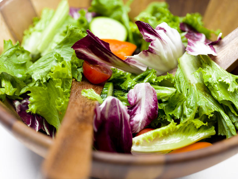 Large bowl of salad stock images