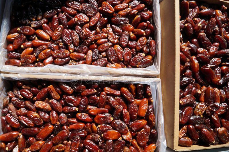 Large box with dates royalty free stock photo