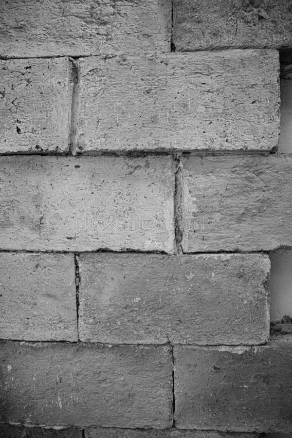 Large brick walls. Clsoe up Black and white images of large brick walls royalty free stock photo
