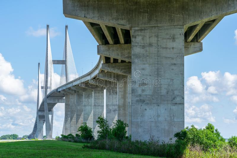 Large bridge. Cable bridge in Brunswick GA. Southeast United States royalty free stock photography