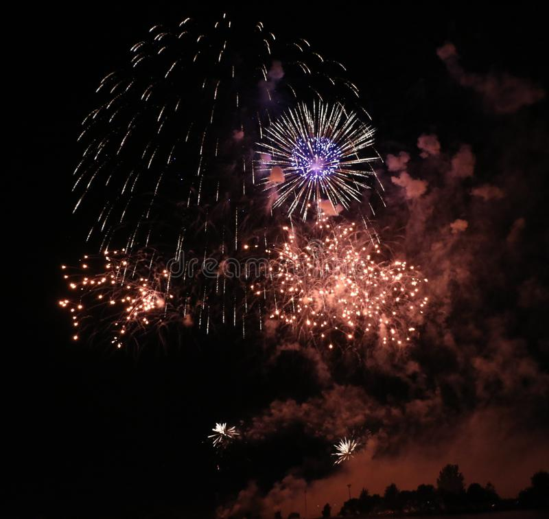 Bright Fireworks Display. A large and bright fireworks display stock photo