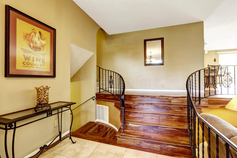 Large bright hallway interior design. Nice basement staircase royalty free stock photography