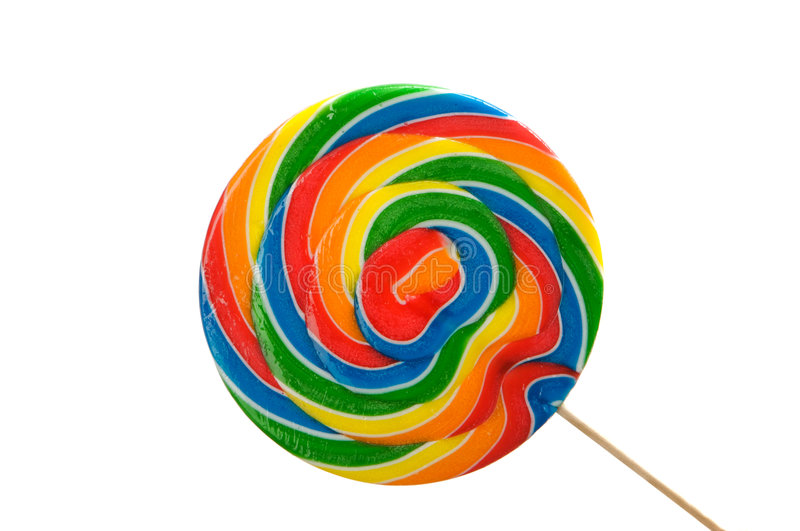 A large brightly colored lollipop. An image of a large brightly colored lollipop stock photography