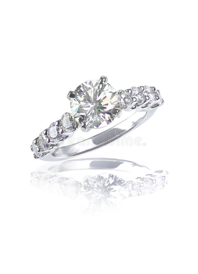 Large brilliant cut modern diamond engagement wedding ring. A beautiful diamond round brilliant cut center stone engagement/wedding/fashion ring in a white gold stock image