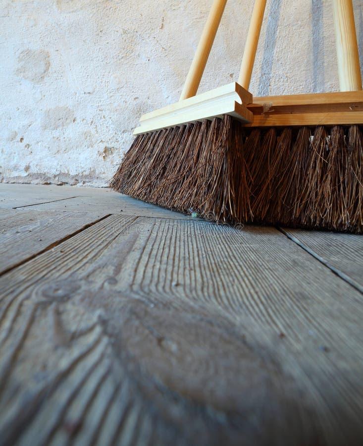download large brooms on wooden floor housework stock image image