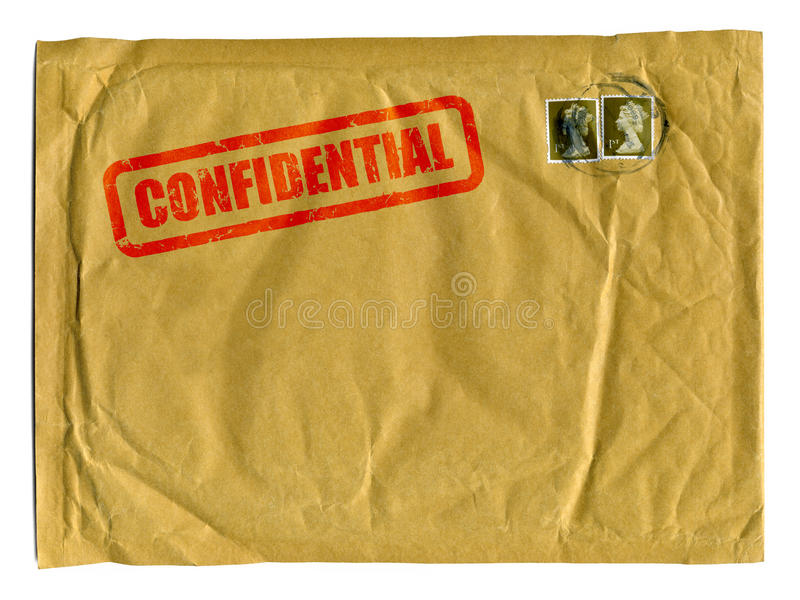 Large brown envelope with Confidential stamp stock image