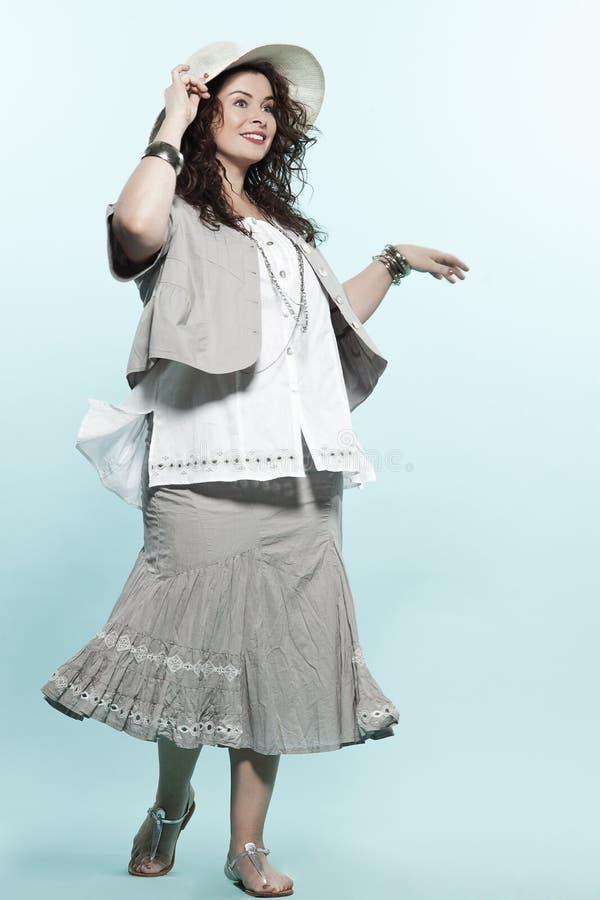 Large build caucasian woman spring summer fashion royalty free stock photos