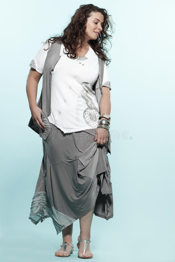 Large build caucasian woman spring summer fashion. Large build caucasian woman full length spring summer fashion models clothes clothings on studio isolated royalty free stock photos