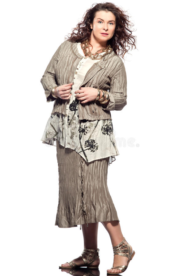 Large build caucasian woman spring summer fashion. Large build caucasian woman full length spring summer fashion models clothes clothings on studio isolated royalty free stock image