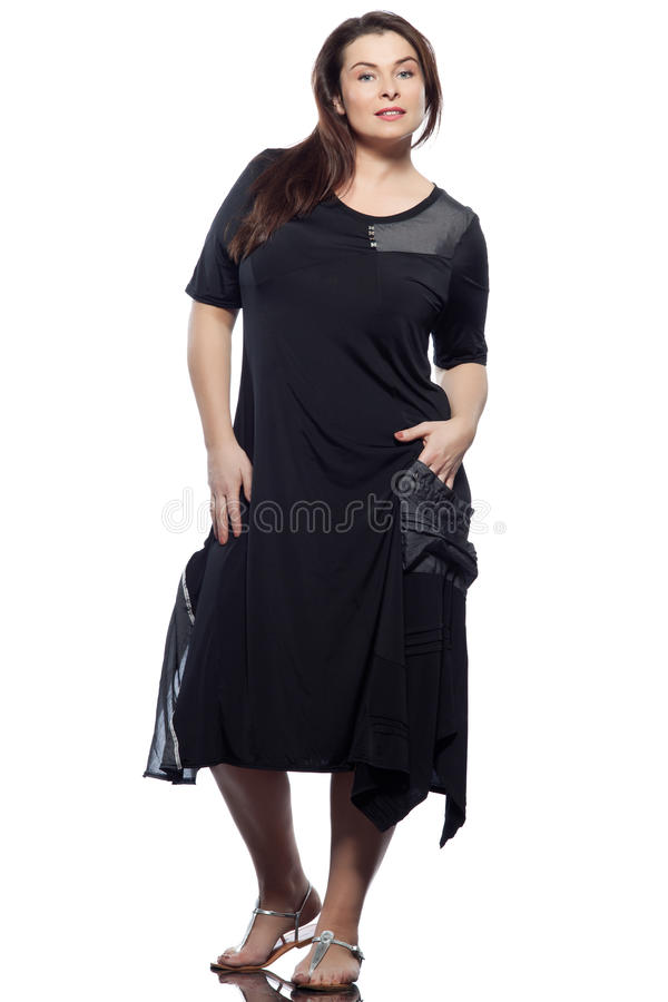 Large build caucasian woman spring summer fashion. Large build caucasian woman full length spring summer fashion models clothes clothings on studio isolated stock photo